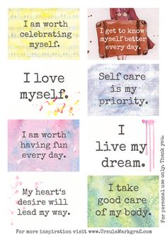 Affirmations about self care Affirmation Cards, Positive Life, Positive Thoughts, Positive Feelings, Positive Attitude, Positive Quotes, Bettering Myself, Get To Know Me, Health And Wellness