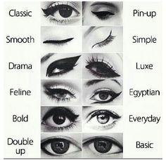 Liquid eyeliner looks.