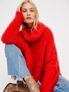 FP Isle Of Sky Chunky Knit Oversized-Turtleneck Pullover Sweater (Fiesta Red)