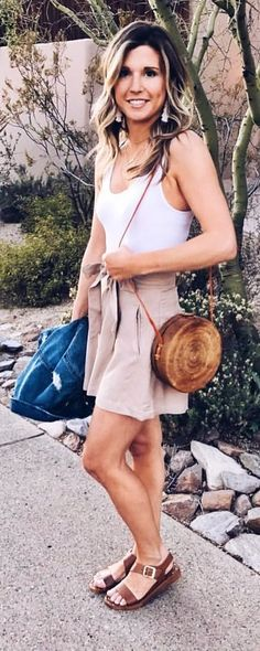 #spring #outfits  smiling woman wearing white tank top. Pic by @blushingmomma