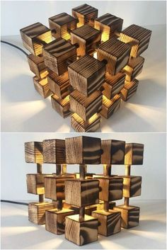 Wooden Rubik Cube Table Lamp - Table Lamps - This Molecular, Rubik's Cube lamp is made entirely of real solid wood and nothing else- just a LOT of measuring, cutting, drilling! Each wooden cube is fixed using real wooden dowels to make a really solid and Wooden Table Lamps, Wood Lamps, Lamp Table, Wood Table, Desk Lamp, Woodworking Toys, Woodworking Projects, Wood Projects, Wooden Plane