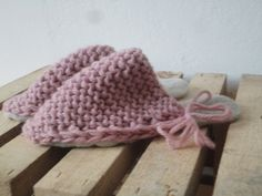 SALE: simple knitted WOOL SLIPPERS in pink or by MAALIKAAcreations
