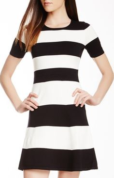 BCBGMaxazria Lylah Short Sleeve Striped Sweater Dress