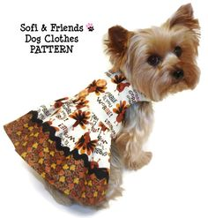THANKSGIVING Dog Clothes Pattern 1608 Sweet Pea Dog Dress for the Little Dog
