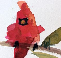 Cardinal no. 171 Original Bird Watercolor Painting by Angela Moulton 4.5 x 5 inch in 8 x 10 inch Mat