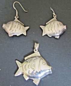 Adorable Sterling Silver Fish Pendant & Matching Dangling Fish Earrings. Nunavut (NU) Original patina intact. Prince Edward Island (PE) Earrings weight are approx. 7.0 gram total, measure approx.   eBay!