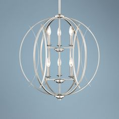 "Brushed Nickel Spherical 24"" Wide 6-Light Pendant Light - too crazy for over the kitchen table?"