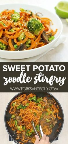 Sweet Potato Zoodle Stirfry Video How To Forks And Folly - Sweet Potato Zoodle Stirfry Video How To Fresh Veggies Take Center Stage With This Sweet Potato Zoodle Stirfry No Guilt And Plenty Of Flavor Will Make This Zoodle Recipe A Go To Weeknight Dinner # Vegan Zoodle Recipes, Beef Recipes, Vegetarian Recipes, Healthy Recipes, Veggie Stirfry Recipes, Lunch Recipes, Sweet Potato Spiralizer Recipes, Sirloin Recipes, Sweet Potato Recipes Healthy