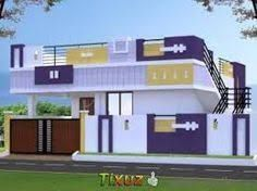elevations of independent houses Row House Design, Single Floor House Design, Village House Design, Bungalow House Design, Village Houses, Building Elevation, House Elevation, 20x40 House Plans, Front Elevation Designs
