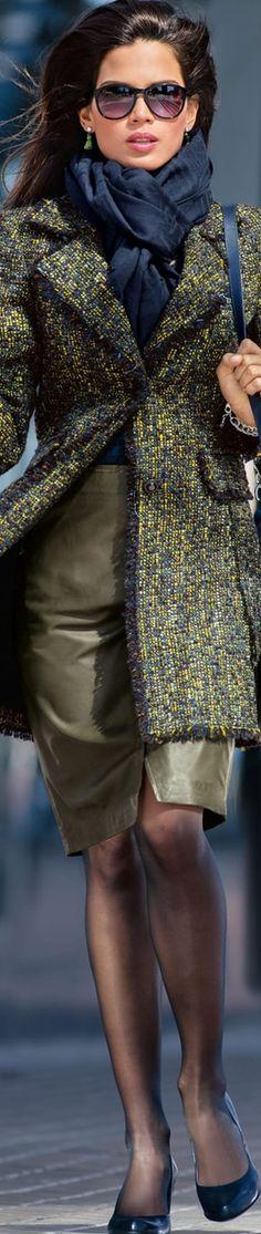 Madeleine Coat Multi-Color Greens/Blue