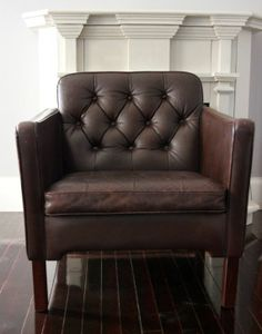 Vintage Dark Brown Tufted Leather Club Chair from Deer Stop Vintage Home on Etsy