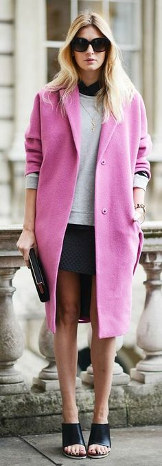 Pink, pink, pink coat from #LFW