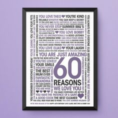 60th Birthday Print 60 Reasons We Love You Personalised Custom Design