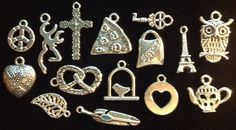15 different SILVER TONE CHARMS by txsodajerks on Etsy