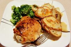 Crispy Chicken Thighs with Potatoes - Om Nomalicious