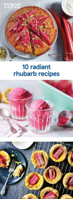 Bold pink stems of tangy rhubarb brighten up every dish they're added to. Try rhubarb in crunchy crumbles, elegant cupcakes or tart savoury salads. Rhubarb Recipes, Fruit Recipes, Sweet Recipes, Snack Recipes, Cooking Recipes, Savory Salads, Savoury Dishes, Thermomix Desserts, Easy Desserts