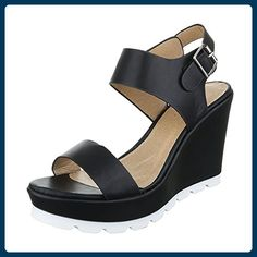 Keilsandaletten Damen Schuhe Plateau Keilabsatz/ Wedge Keilabsatz Schnalle Ital-Design Sandalen / Sandaletten Schwarz, Gr 40, Yh2708- - Sandalen für frauen (*Partner-Link)