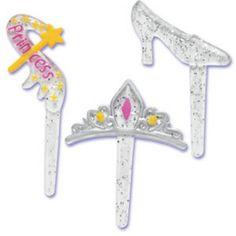 Princess Symbols Crown Shoe Wand Cupcake Toppers Picks by BethsCakeKitShop on Etsy