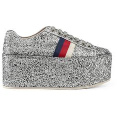 Gucci Glitter Platform Sneaker ($895) ❤ liked on Polyvore featuring shoes, sneakers, silver, gucci trainers, red and white sneakers, silver sneakers, red white and blue shoes and gucci sneakers