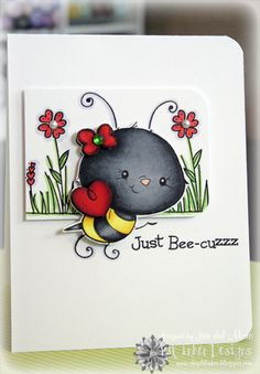 cute, cute card by Jen del Muro at i{heart}2stamp.com  - stamp from Lil' Inker