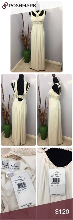 """Nicole Miller Ivory Formal Dress Silk Blend Retail for $485. This absolute beauty is perfect for your formal evening gown or wedding dress.   Flaws are not in sight, easy to fix ❤Please refer to last pict❤. But you can keep this dress for a fraction of retail. Length approx 57"""" 92% silk, 8% lycra  Be thankful and be a cute panda ❤ Nicole Miller Dresses Wedding"""