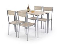 Ralph Dining Set with 4 Chairs Castleton Home Corner Dining Set, Round Dining Set, Dining Chairs, Dining Table, Upholstered Bench, Ron, Light Oak, Types Of Wood, Wood And Metal