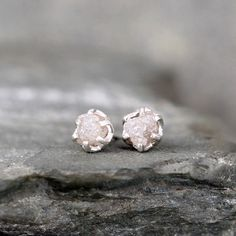 Raw Diamond Earrings – Sterling Silver Filigree Inspired – 1 Carat Stud Earring – April Birthstone – Uncut Gemstone – Conflict Free Diamonds