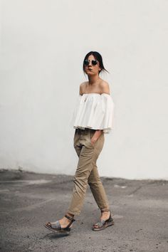 Chic Style - white off-the-shoulder frill top & cropped chinos, summer street style
