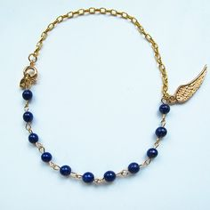 Natural navy blue lapis lazuli, candy color gemstone bracelet with 24 K gold plated wing charm, multi-color available, FREE shipping #christmas #xmas #halloween #highquality #affordable #freeshipping #bead #beads #gem #gems #gemstone #gemstones #jewelry #jewellery #jewelrymaking #jewelrysupplies #jewelrysupply #etsy #farragem #design #designer #handcrafted #handmade #ring #necklace #earrings #bracelet #pendant Ring Necklace, Beaded Necklace, Earrings, 24k Gold Jewelry, Unique Jewelry, Gemstone Bracelets, Gem S, Candy Colors, Lapis Lazuli
