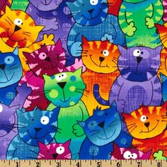 Timeless Treasures Cats & Dogs Happy Cats Multi from @fabricdotcom  Designed for Timeless Treasures, this cotton print fabric features closely packed smiling cats and is perfect for quilting, apparel, and home decor accents. Colors include purple, green, orange, blue and yellow.