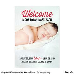 Magnetic Photo Gender Neutral Birth Announcement Magnetic Invitations