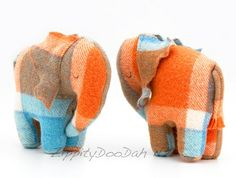 Vintage Blanket  Elephant Toy Orange/ Bright Blue