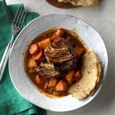 Slow-Cooked Caribbean Pot Roast Recipe: How to Make It | Taste of Home Pot Roast Recipes, Slow Cooker Recipes, Crockpot Recipes, Vegan Recipes, Lamb Recipes, Quick Recipes, Quick Meals, Soup Recipes, Dinner Recipes
