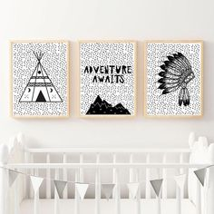 Printable Art Set Of Nursery Prints Set Of 3 Prints Kids Room Wall Art, Nursery Wall Art, Nursery Bible Verses, Tribal Nursery, Scandinavian Nursery, Triptych, Nursery Prints, Printable Art, Color Schemes