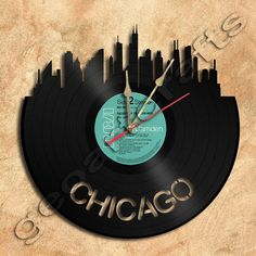 Wall Clock Chicago Theme Vinyl Record clock by geoartcrafts, Vinyl Record Clock, Record Wall, Vinyl Records, West Chicago, Modern Home Interior Design, Cool Clocks, Quartz Clock Mechanism, Kyoto Japan, Home Accents