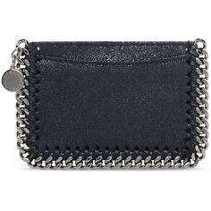 Stella McCartney Navy Falabella Shaggy Deer Card Holder (360 NZD) ❤ liked on Polyvore featuring bags, wallets, midnight, card holder wallet, navy bag, navy blue wallet, stella mccartney wallet and deer wallet