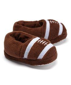 $6 Brown Football Slippers - Boys #zulily #zulilyfinds