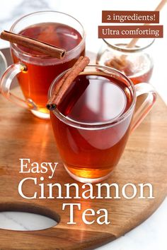Cinnamon tea is a warm and slightly spicy drink that's loaded with antioxidants! It's perfect for cold & flu season, or anytime you want to warm up with a cozy drink. #healthyrecipe #tea #vegetarianrecipes #healthyfood #healthyliving #justeatrealfood #detox #vegetarian #paleo #glutenfree #dairyfree Ginger Cinnamon Tea, Cinnamon Tea Benefits, Cassia Cinnamon, Cinnamon Oil, Ginger Tea, Tea Recipes, Healthy Recipes, Healthy Options, Fall Recipes