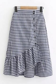 saias Simple Cheap Chic, Shop Button Embellished Plaid Asymmetrical Ruffle Hem Midi A-Line Skirt online. you can find similar. Chiffon Skirt, Dress Skirt, Ruffle Skirt, Chambray, Jean Skirt Outfits, Dress Outfits, Midi Flare Skirt, Outfit Trends, Ladies Dress Design