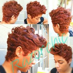 Color and waves. Razorchic of Atlanta Auburn short curls Short Sassy Hair, Short Curls, Short Hair Cuts, Short Hair Styles, Pixie Styles, Pixie Cuts, Black Women Short Hairstyles, Dope Hairstyles, Weave Hairstyles