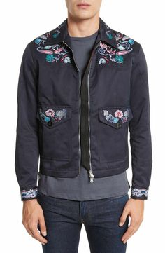 cbb81b2554 Colorful embroidery puts a free-spirited spin on this vintage-style utility  jacket tailored