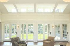 Idea for my extension ceiling line, with French doors of course! Shed Windows, Dormer Windows, Cool Rooms, Great Rooms, Modern Cottage Style, Virginia Homes, Home Decor Online, Traditional House, French Doors