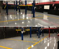 An automotive floor recently completed with our solids primer and Med. Gray Polyester Polyurethane, which is designed for heavy traffic from vehicles and is resistant to oils, gas, grease, etc. Concrete Floor Coatings, Epoxy Floor, Concrete Floors, Industrial Flooring, Grease, Coast, Surface, Steel, Vehicles