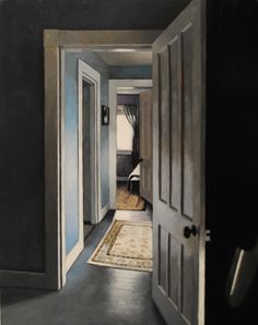View from Peter's room, oil on panel, 14x11  painting of a hallway in an antique house in upstate NY
