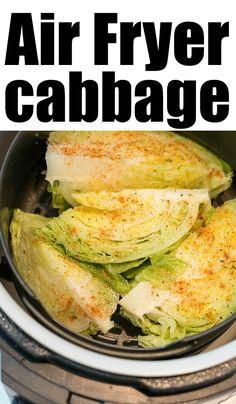 Best air fryer cabbage steaks or wedges in your standard or Ninja Foodi machine. Air Fryer Oven Recipes, Air Frier Recipes, Air Fryer Dinner Recipes, Grilled Cabbage Wedges, Air Fryer Cooking Times, Air Fried Food, Healty Dinner, Baked Cabbage Recipes, Baked Cabbage Steaks