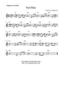 Beginner Fur Elise Sheet Music with Letters 43 Fur Elise Recorder Sheet Music Piano Sheet Music Classical, Free Violin Sheet Music, Trumpet Sheet Music, Saxophone Sheet Music, Easy Piano Sheet Music, Violin Music, Sheet Music Notes, Music Chords, Recorder Music