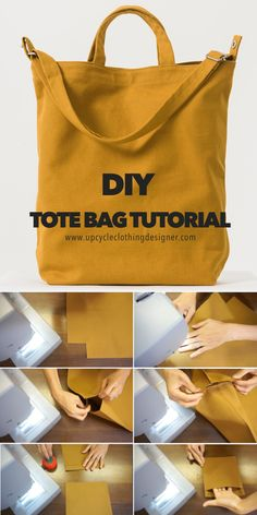 Diy Sewing Projects, Sewing Tutorials, Sewing Hacks, Sewing Patterns, Diy Bags Sewing, Bag Tutorials, Clothing Patterns, Sacs Tote Bags, Diy Tote Bag