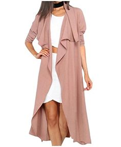 c8d584259ad Tootless Women Plus-size Stylish Turn-down Collar Belt Trench Coat Outwear  Pink S