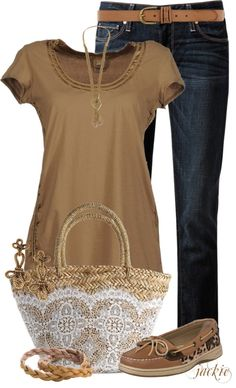 """""""Jeans and Top Siders"""" by jackie22 ❤ liked on Polyvore"""