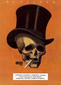 M C Escher Skull w/ Top Hat